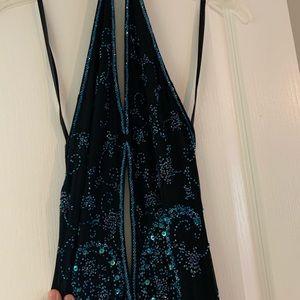 Black beaded formal dress